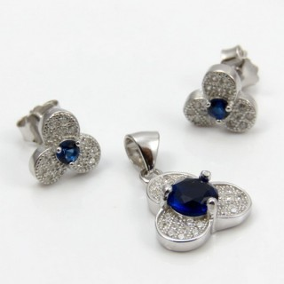 29812-16C EARRINGS & PENDANT SET IN RHODIUM PLATED SILVER