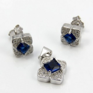 29812-18C EARRINGS & PENDANT SET IN RHODIUM PLATED SILVER
