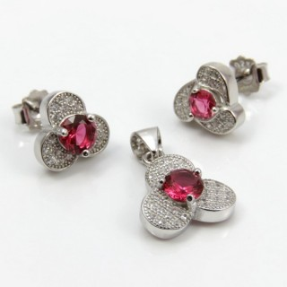 29812-19B EARRINGS & PENDANT SET IN RHODIUM PLATED SILVER