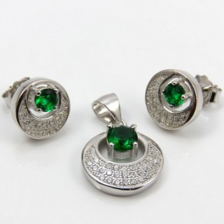 29812-20A EARRINGS & PENDANT SET IN RHODIUM PLATED SILVER