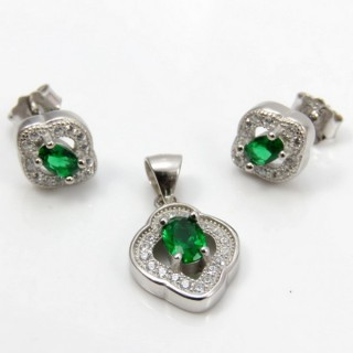 29812-21A EARRINGS & PENDANT SET IN RHODIUM PLATED SILVER