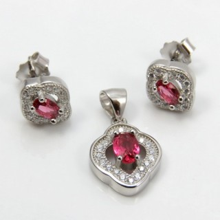 29812-21B EARRINGS & PENDANT SET IN RHODIUM PLATED SILVER