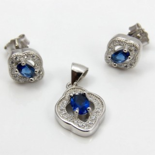29812-21C EARRINGS & PENDANT SET IN RHODIUM PLATED SILVER