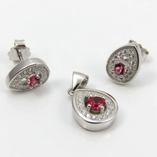 29812-22B EARRINGS & PENDANT SET IN RHODIUM PLATED SILVER
