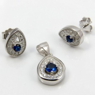 29812-22C EARRINGS & PENDANT SET IN RHODIUM PLATED SILVER