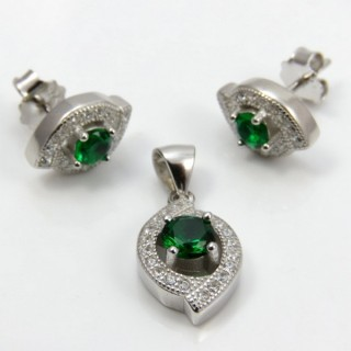 29812-26A EARRINGS & PENDANT SET IN RHODIUM PLATED SILVER