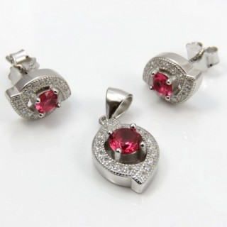 29812-26B EARRINGS & PENDANT SET IN RHODIUM PLATED SILVER