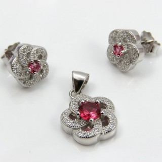 29812-27B EARRINGS & PENDANT SET IN RHODIUM PLATED SILVER