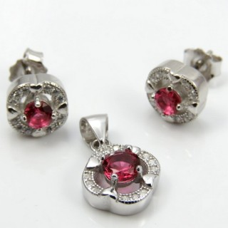 29812-31B EARRINGS & PENDANT SET IN RHODIUM PLATED SILVER