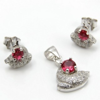 29812-32B EARRINGS & PENDANT SET IN RHODIUM PLATED SILVER