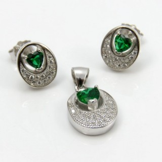 29812-34A EARRINGS & PENDANT SET IN RHODIUM PLATED SILVER