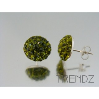 19164 OLIVINE SILVER 12 MM HALF BALL EARRINGS WITH ZIRCONS