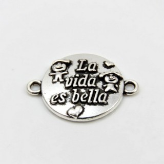 29056-09 PACK OF 12 CHARMS WITH SPANISH PHRASES 16 MM