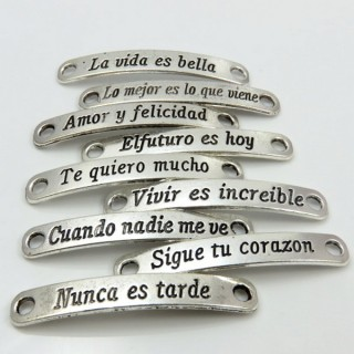 29056-13 PACK OF 18 ASSORTED SPANISH PHRASES CHARMS 7 X 45 MM