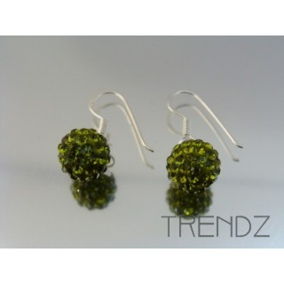 19170 OLIVINE SILVER 10 MM FISH HOOK ZIRCON BALL EARRINGS