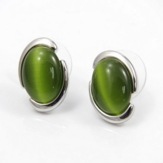 29602 RHODIUM PLATED EARRING WITH CAT'S EYE