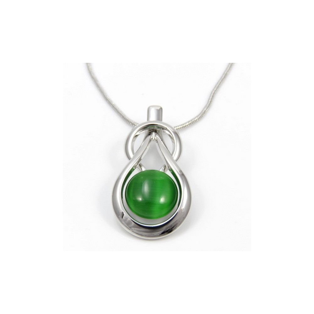 29612 RHODIUM PLATED NECKLACE WITH CAT'S EYE