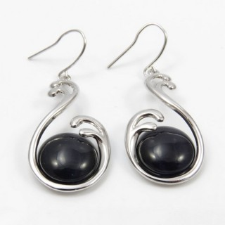 29623 RHODIUM PLATED EARRING WITH CAT'S EYE