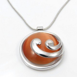 29624 RHODIUM PLATED NECKLACE WITH CAT'S EYE