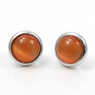 29625 RHODIUM PLATED EARRING WITH CAT'S EYE