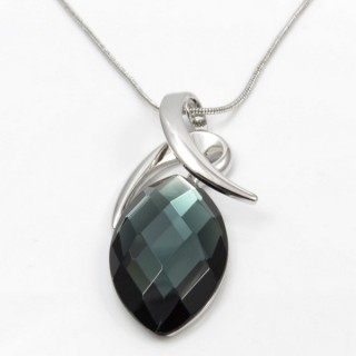 29626 RHODIUM PLATED NECKLACE WITH CAT'S EYE