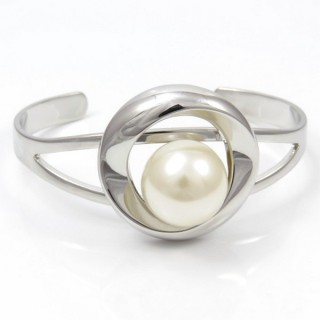 29635 RHODIUM PLATED BRACELET WITH PLASTIC PEARL