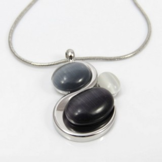 29636 RHODIUM PLATED NECKLACE WITH CAT'S EYE