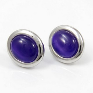 29641 RHODIUM PLATED EARRING WITH CAT'S EYE