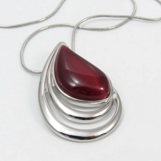 29642 RHODIUM PLATED NECKLACE WITH CAT'S EYE