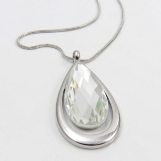 29648 FACETED GLASS RHODIUM PLATED NECKLACE