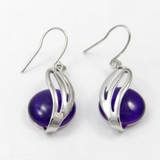 29655 RHODIUM PLATED EARRING WITH CAT'S EYE