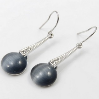 29659 RHODIUM PLATED EARRING WITH CAT'S EYE