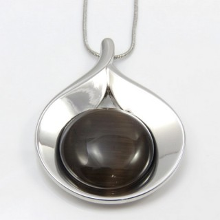 29660 RHODIUM PLATED NECKLACE WITH CAT'S EYE