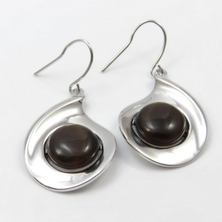 29661 RHODIUM PLATED EARRING WITH CAT'S EYE