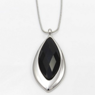 29662 FACETED GLASS RHODIUM PLATED NECKLACE