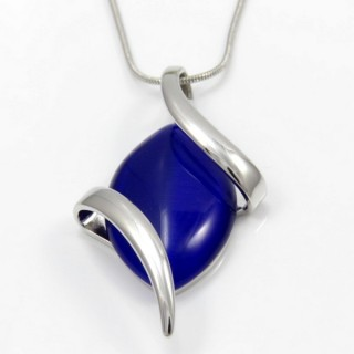 29676 RHODIUM PLATED NECKLACE WITH CAT'S EYE