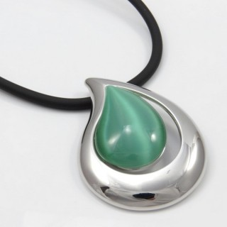 29679-05 RUBBER RHODIUM PLATED NECKLACE WITH CAT'S EYE