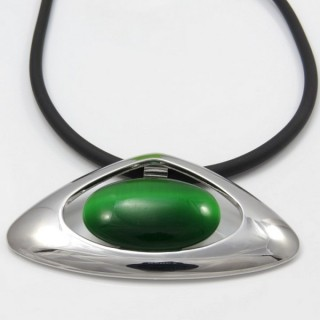 29679-07 RUBBER RHODIUM PLATED NECKLACE WITH CAT'S EYE
