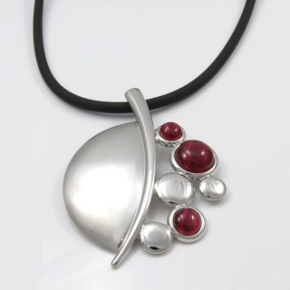 29679-10 RUBBER RHODIUM PLATED NECKLACE WITH CAT'S EYE
