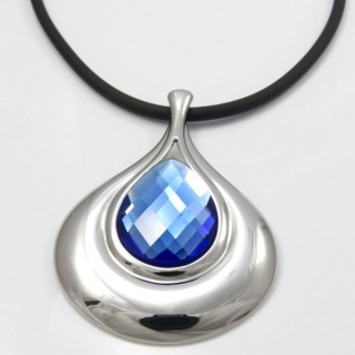29679-12 RUBBER RHODIUM PLATED NECKLACE WITH FACETED GLASS