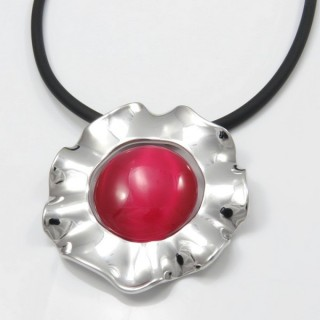 29679-14 RUBBER RHODIUM PLATED NECKLACE WITH CAT'S EYE