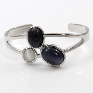 29639 RHODIUM PLATED BRACELET WITH CAT'S EYE