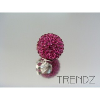 19176 FUCHSIA SILVER 14 MM PENDANT WITH GLASS STONES