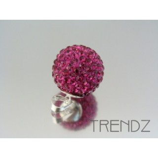 19180 FUCHSIA SILVER 20 MM PENDANT WITH GLASS STONES