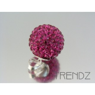 19182 FUCHSIA SILVER 20 MM PENDANT WITH GLASS STONES