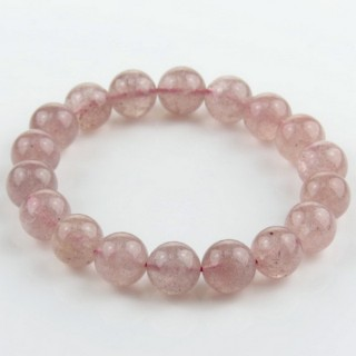 28994 ELASTIC STRAWBERRY QUARTZ 11 MM BEAD BRACELET