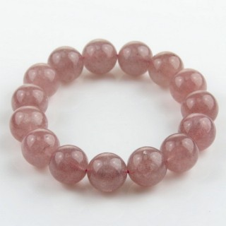 28993 ELASTIC STRAWBERRY QUARTZ 14 MM BEAD BRACELET