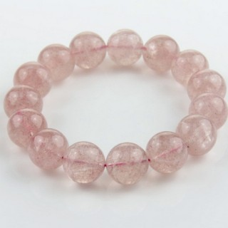 28992 ELASTIC STRAWBERRY QUARTZ 15 MM BEAD BRACELET