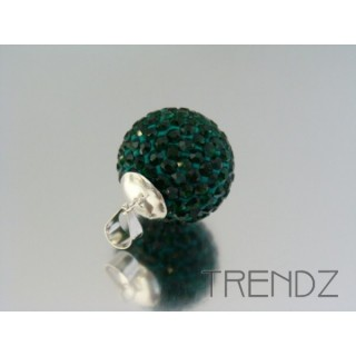 19182 EMERALD SILVER 20 MM PENDANT WITH GLASS STONES