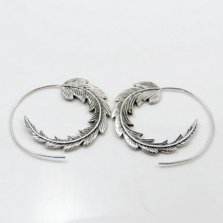 30310 NEW DESIGN 35 MM ROUND STERLING SILVER EARRINGS